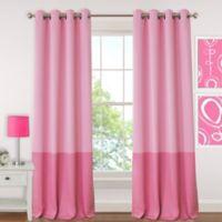 Elrene Madeline 95-Inch Room-Darkening Grommet Top Window Curtain Panel in Pink