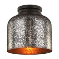 Feiss® Houndslow 1-Light Flush-Mount Fixture in Oil Rubbed Bronze with Mercury Glass Shade