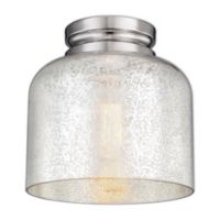 Feiss® Houndslow 1-Light Flush-Mount Fixture in Polished Nickel with Mercury Glass Shade