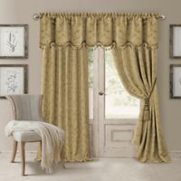 Elrene Mia 84-Inch Room-Darkening Rod Pocket /Back Tab Window Curtain Panel in Gold