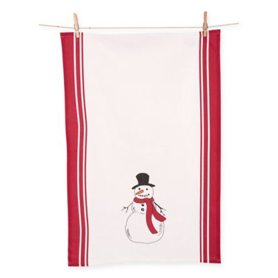 Snowman Kitchen Towels In Red/White (Set Of 2)