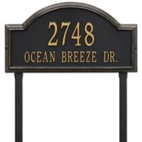 Whitehall Providence Arch 2-Line Lawn Mounted Plaque in Black/Gold