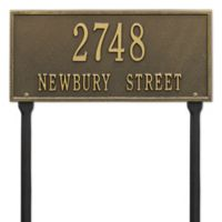 Whitehall Products Hartford 2-Line Standard Lawn Plaque in Antique Brass