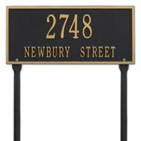 Whitehall Products Hartford 2-Line Standard Lawn Plaque in Black/Gold