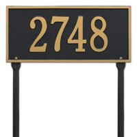 Whitehall Products Hartford 1-Line Standard Lawn Plaque in Black/Gold