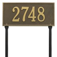 Whitehall Products Hartford 1-Line Standard Lawn Plaque in Antique Brass