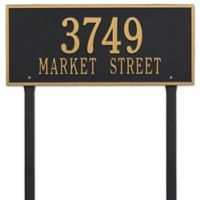 Whitehall Products Hartford 2-Line Lawn Plaque in Black/Gold