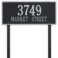 Whitehall Products Hartford 2-Line Lawn Plaque in Black/Silver