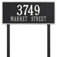 Whitehall Products Hartford 2-Line Lawn Plaque in Black/White