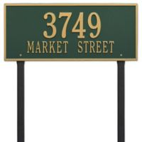 Whitehall Products Hartford 2-Line Lawn Plaque in Green/Gold