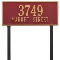 Whitehall Products Hartford 2-Line Lawn Plaque in Red/Gold