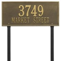Whitehall Products Hartford 2-Line Lawn Plaque in Brass