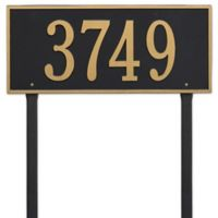 Whitehall Products Hartford Estate Lawn Address Plaque in Black/Gold