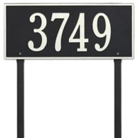Whitehall Products Hartford Estate Lawn Address Plaque in Black/White