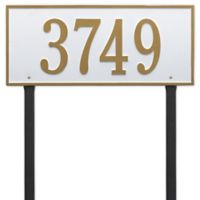 Whitehall Products Hartford Estate Lawn Address Plaque in White/Gold