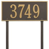 Whitehall Products Hartford Estate Lawn Address Plaque in Bronze/Gold