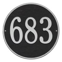 Whitehall Products 15-in Round House Numbers Plaque in Black & White