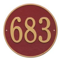 Whitehall Products 15-in Round House Numbers Plaque in White & Gold