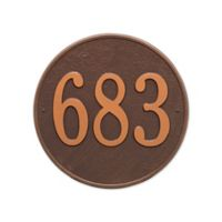 Whitehall Products 15-in Round House Numbers Plaque in Bronze Gold