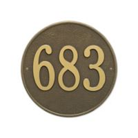 Whitehall Products 15-in Round House Numbers Plaque in Metallic Bronze