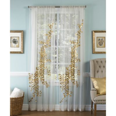 callisto aura 120inch rod pocket sheer window curtain panel in whitegold