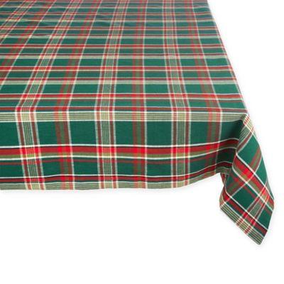 60 Inch X 120 Holiday Plaid Tablecloth In Dark Green