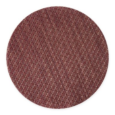Keeco Woven Vinyl Sequence Round Placemat In Red