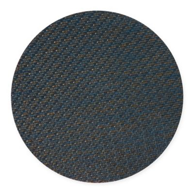 keeco woven vinyl sequence round placemat in blue