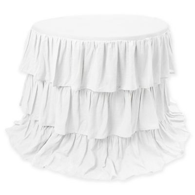 Belle Ruffle 120 Inch Round Tablecloth In White