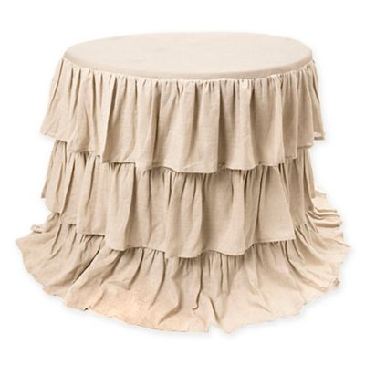 Belle Ruffle 90 Inch Round Tablecloth In Natural