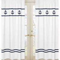 Sweet Jojo Designs Anchors Away Window Panel Pair in White/Navy