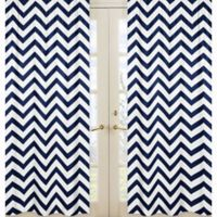 Sweet Jojo Designs Chevron Window Panel Pair in Navy/White