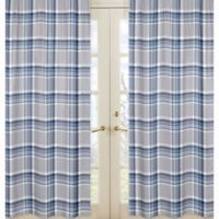 Sweet Jojo Designs Plaid Window Panel Pair in Navy/Grey