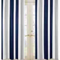 Sweet Jojo Designs Navy and Grey Stripe Window Panel Pair