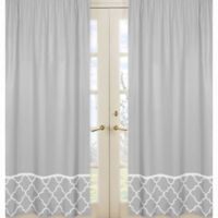 Sweet Jojo Designs Trellis Border Window Panel Pair in Grey/White