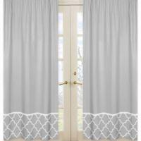 Sweet Jojo Designs Trellis Border Window Panel Pair in Grey/White