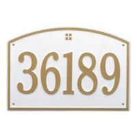 Whitehall Products 1-Line Personalized Address Wall Plaque in White/Gold