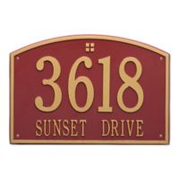 Whitehall Products 2-Line Personalized Address Wall Plaque in Red/Gold