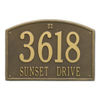 Whitehall Products 2-Line Personalized Address Wall Plaque in Antique Brass