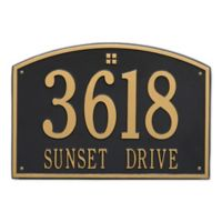 Whitehall Products 2-Line Personalized Address Wall Plaque in Black/Gold