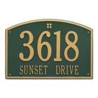 Whitehall Products 2-Line Personalized Address Wall Plaque in Green/Gold