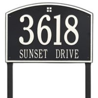 Whitehall Products Cape Charles 2-Line Estate Lawn Plaque in Black/White