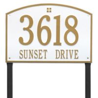Whitehall Products Cape Charles 2-Line Estate Lawn Plaque in White/Gold
