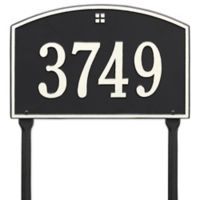 Whitehall Products Cape Charles 1-Line Standard Lawn Plaque in Black/White
