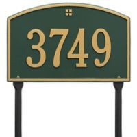 Whitehall Products Cape Charles 1-Line Standard Lawn Plaque in Green/Gold