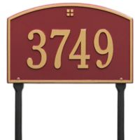Whitehall Products Cape Charles 1-Line Standard Lawn Plaque in Red/Gold