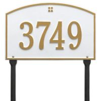 Whitehall Products Cape Charles 1-Line Standard Lawn Plaque in White/Gold
