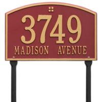 Whitehall Products Cape Charles 2-Line Standard Lawn Plaque in Red/Gold