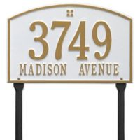 Whitehall Products Cape Charles 2-Line Standard Lawn Plaque in White/Gold