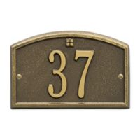Whitehall Products Cape Charles 1-Line Petite Wall Plaque in Antique Brass